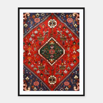 Thumbnail image of Red & Blue Geometric Moroccan Antique Artwork  Framed poster, Live Heroes