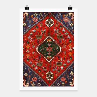 Thumbnail image of Red & Blue Geometric Moroccan Antique Artwork  Poster, Live Heroes