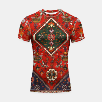 Thumbnail image of Red & Blue Geometric Moroccan Antique Artwork  Shortsleeve rashguard, Live Heroes