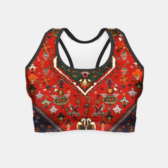 Thumbnail image of Red & Blue Geometric Moroccan Antique Artwork  Crop Top, Live Heroes