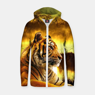 Miniatur Tiger and Sunset Zip up hoodie, Live Heroes