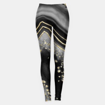 Miniature de image de Black Night Agate Gold Foil Glam #1 #gem #decor #art  Leggings, Live Heroes