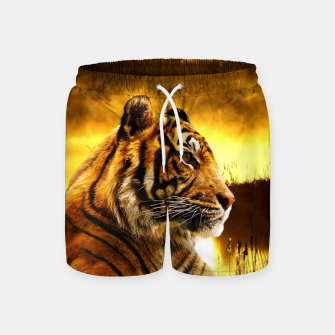 Miniatur Tiger and Sunset Swim Shorts, Live Heroes