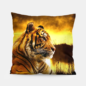 Thumbnail image of Tiger and Sunset Pillow, Live Heroes