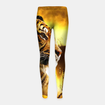 Thumbnail image of Tiger and Sunset Girl's leggings, Live Heroes