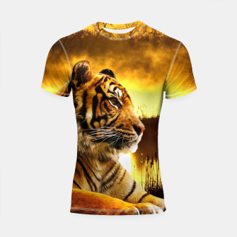 Thumbnail image of Tiger and Sunset Shortsleeve rashguard, Live Heroes