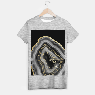 Miniatur Black Night Agate Gold Foil Glam #2 #gem #decor #art  T-Shirt regulär, Live Heroes