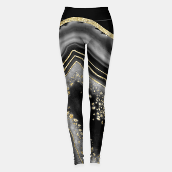 Miniatur Black Night Agate Gold Foil Glam #2 #gem #decor #art  Leggings, Live Heroes