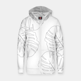 Thumbnail image of Monstera Leaves Finesse Line Art #2 #minimal #decor #art  Reißverschluss kapuzenpullover, Live Heroes