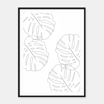 Thumbnail image of Monstera Leaves Finesse Line Art #2 #minimal #decor #art  Plakat mit rahmen, Live Heroes