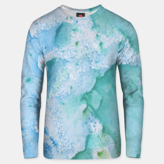 Thumbnail image of Touching Soft Turquoise Teal Blue Watercolor Abstract #1 #painting #decor #art  Unisex sweatshirt, Live Heroes