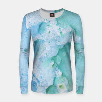 Thumbnail image of Touching Soft Turquoise Teal Blue Watercolor Abstract #1 #painting #decor #art  Frauen sweatshirt, Live Heroes