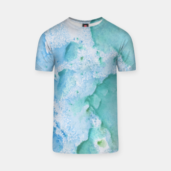 Thumbnail image of Touching Soft Turquoise Teal Blue Watercolor Abstract #1 #painting #decor #art  T-Shirt, Live Heroes