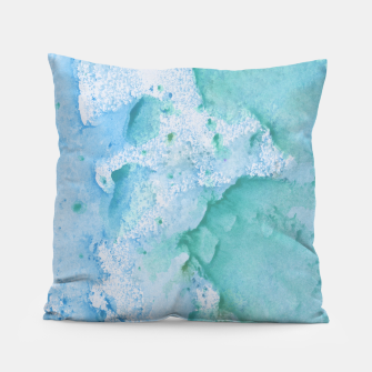Thumbnail image of Touching Soft Turquoise Teal Blue Watercolor Abstract #1 #painting #decor #art  Kissen, Live Heroes