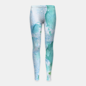 Thumbnail image of Touching Soft Turquoise Teal Blue Watercolor Abstract #1 #painting #decor #art  Kinder-Leggins, Live Heroes