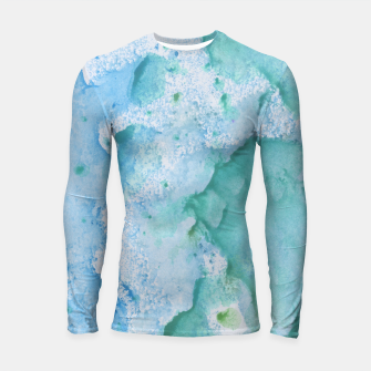 Miniatur Touching Soft Turquoise Teal Blue Watercolor Abstract #1 #painting #decor #art  Longsleeve rashguard, Live Heroes