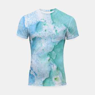 Thumbnail image of Touching Soft Turquoise Teal Blue Watercolor Abstract #1 #painting #decor #art  Shortsleeve rashguard, Live Heroes