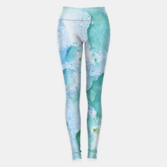 Thumbnail image of Touching Soft Turquoise Teal Blue Watercolor Abstract #1 #painting #decor #art  Leggings, Live Heroes