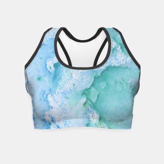 Miniature de image de Touching Soft Turquoise Teal Blue Watercolor Abstract #1 #painting #decor #art  Crop Top, Live Heroes