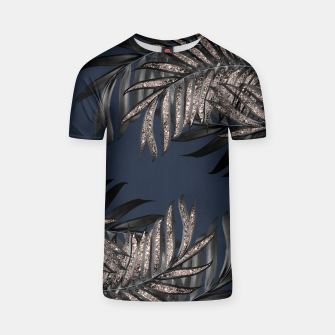 Miniaturka Gray Black Palm Leaves with Rose Gold Glitter #7 #tropical #decor #art T-Shirt, Live Heroes