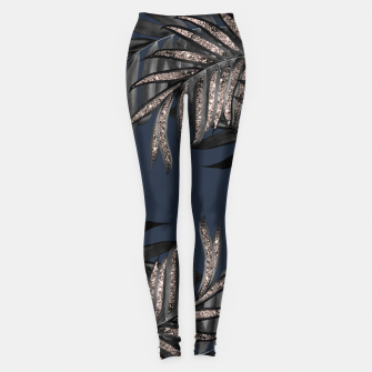 Miniature de image de Gray Black Palm Leaves with Rose Gold Glitter #7 #tropical #decor #art Leggings, Live Heroes