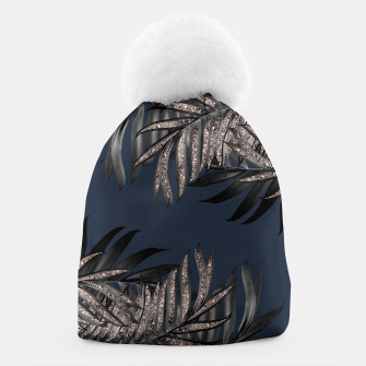 Thumbnail image of Gray Black Palm Leaves with Rose Gold Glitter #7 #tropical #decor #art Mütze, Live Heroes