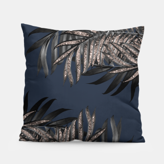 Thumbnail image of Gray Black Palm Leaves with Rose Gold Glitter #7 #tropical #decor #art Kissen, Live Heroes