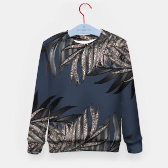 Thumbnail image of Gray Black Palm Leaves with Rose Gold Glitter #7 #tropical #decor #art Kindersweatshirt, Live Heroes