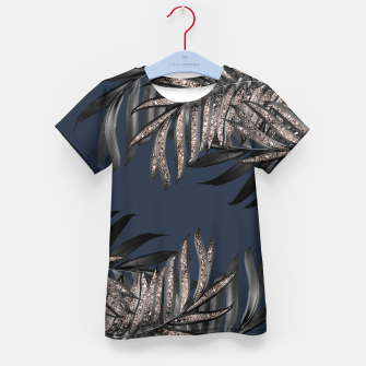 Thumbnail image of Gray Black Palm Leaves with Rose Gold Glitter #7 #tropical #decor #art T-Shirt für kinder, Live Heroes