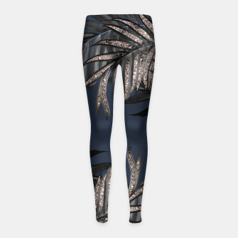 Thumbnail image of Gray Black Palm Leaves with Rose Gold Glitter #7 #tropical #decor #art Kinder-Leggins, Live Heroes