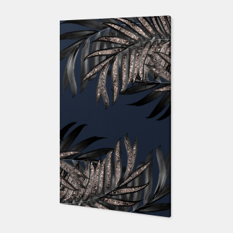 Thumbnail image of Gray Black Palm Leaves with Rose Gold Glitter #7 #tropical #decor #art Canvas, Live Heroes