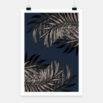 Thumbnail image of Gray Black Palm Leaves with Rose Gold Glitter #7 #tropical #decor #art Plakat, Live Heroes