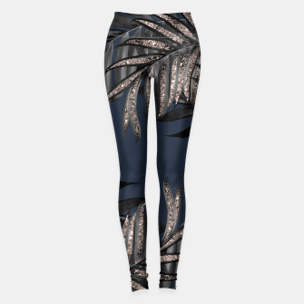 Thumbnail image of Gray Black Palm Leaves with Rose Gold Glitter #7 #tropical #decor #art Leggings, Live Heroes