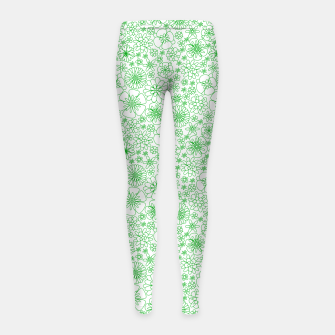 Thumbnail image of Wild Flowers - floral pattern green Girl's leggings, Live Heroes