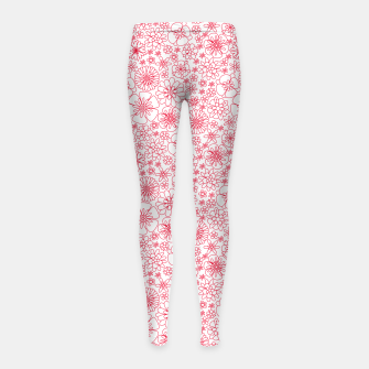 Thumbnail image of Wild Flowers - floral pattern red Girl's leggings, Live Heroes