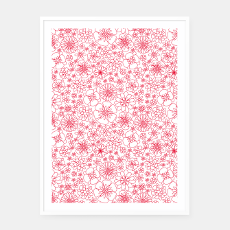 Miniatur Wild Flowers - floral pattern red Framed poster, Live Heroes