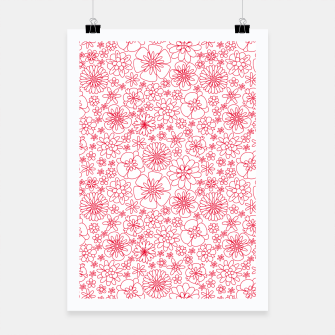 Miniatur Wild Flowers - floral pattern red Poster, Live Heroes