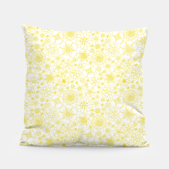 Miniatur Wild Flowers - floral pattern yellow Pillow, Live Heroes