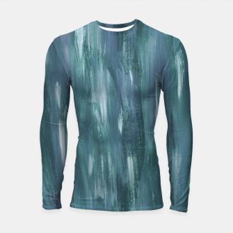 Thumbnail image of Touching Teal Blue White Watercolor Abstract #1 #painting #decor #art  Longsleeve rashguard, Live Heroes