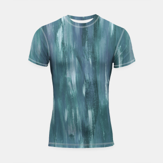 Thumbnail image of Touching Teal Blue White Watercolor Abstract #1 #painting #decor #art  Shortsleeve rashguard, Live Heroes