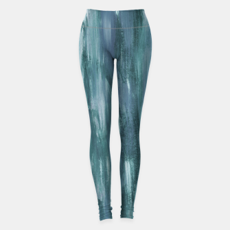 Thumbnail image of Touching Teal Blue White Watercolor Abstract #1 #painting #decor #art  Leggings, Live Heroes