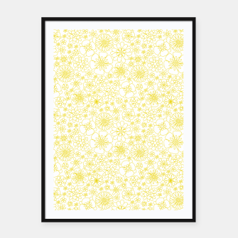 Miniatur Wild Flowers - floral pattern yellow Framed poster, Live Heroes
