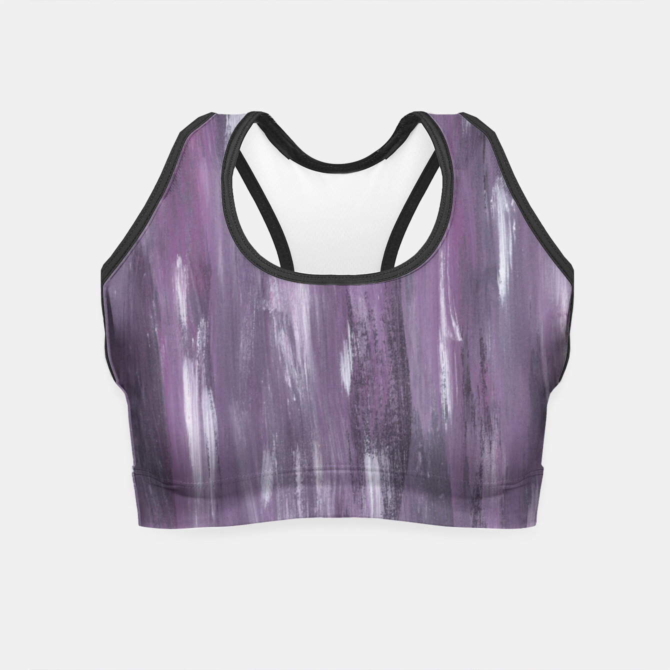 Zdjęcie Touching Purple Black White Watercolor Abstract #1 #painting #decor #art Crop Top - Live Heroes