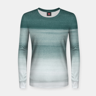 Thumbnail image of Touching Dark Teal Watercolor Abstract #1 #painting #decor #art  Frauen sweatshirt, Live Heroes