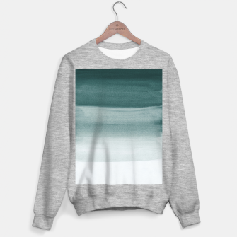 Miniaturka Touching Dark Teal Watercolor Abstract #1 #painting #decor #art  Sweatshirt regulär, Live Heroes