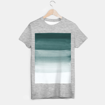 Miniaturka Touching Dark Teal Watercolor Abstract #1 #painting #decor #art  T-Shirt regulär, Live Heroes