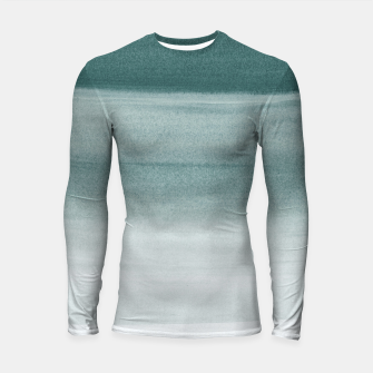 Thumbnail image of Touching Dark Teal Watercolor Abstract #1 #painting #decor #art  Longsleeve rashguard, Live Heroes