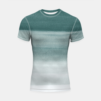 Thumbnail image of Touching Dark Teal Watercolor Abstract #1 #painting #decor #art  Shortsleeve rashguard, Live Heroes