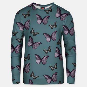 Miniaturka Teal Lavender & Black Butterfly Glam #1 #pattern #decor #art Unisex sweatshirt, Live Heroes