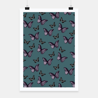 Miniaturka Teal Lavender & Black Butterfly Glam #1 #pattern #decor #art Plakat, Live Heroes
